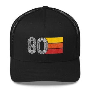 Vintage 1980 Birthday Hat Trucker Cap number 80 retro