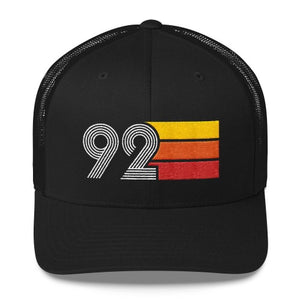 vintage 1992 number 92 retro trucker hat birthday cap decoration party gift black