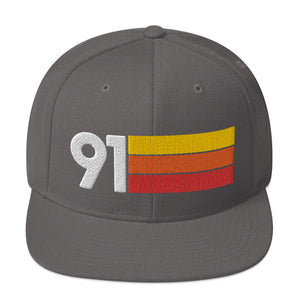 1991 RETRO NUMBER 91 BIRTHDAY REUNION ANNIVERSARY CUSTOM EMBROIDERED SNAPBACK HAT