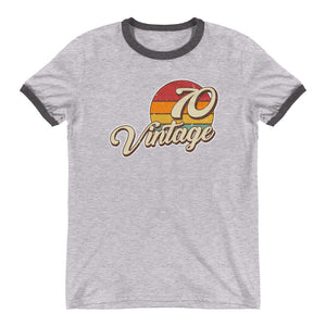 Vintage 1970 Retro Sunset Ringer T-Shirt