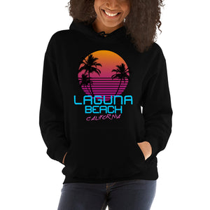 Laguna Beach California Retro 80's Hooded Sweatshirt - Styleuniversal