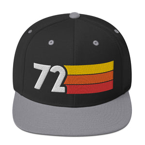 1972 RETRO NUMBER 72 BIRTHDAY REUNION ANNIVERSARY CUSTOM EMBROIDERED SNAPBACK HAT