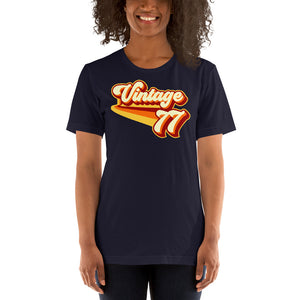Vintage 1977 Warm Retro Lines SLIM FIT Short-Sleeve Unisex T-Shirt