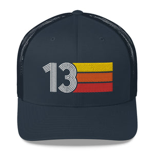2013 RETRO BIRTHDAY GIFT NUMBER 13 MENS WOMENS TRUCKER HAT