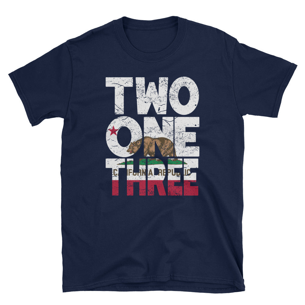 213 Area Code California Republic Flag Short-Sleeve Unisex T-Shirt - Styleuniversal