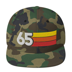 1965 RETRO NUMBER 65 BIRTHDAY REUNION ANNIVERSARY CUSTOM EMBROIDERED SNAPBACK HAT
