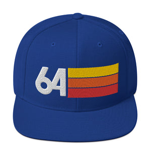 1964 RETRO NUMBER 64 BIRTHDAY REUNION ANNIVERSARY CUSTOM EMBROIDERED SNAPBACK HAT