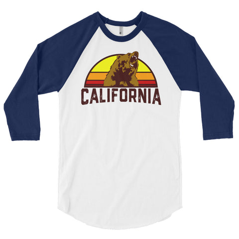 California Republic Bear Retro 3/4 sleeve raglan shirt