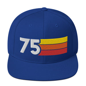 1975 RETRO NUMBER 75 BIRTHDAY REUNION ANNIVERSARY CUSTOM EMBROIDERED SNAPBACK HAT