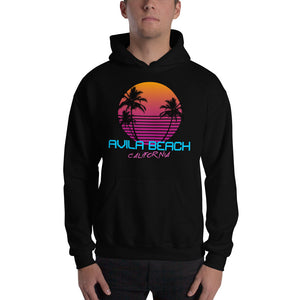Avila Beach California Retro 80's Hooded Sweatshirt
