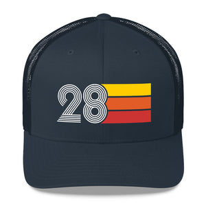 1928 RETRO BIRTHDAY GIFT Number 28 MENS WOMENS TRUCKER Hat