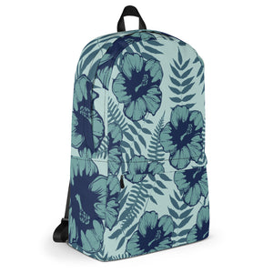 Hibiscus Flower Blue Backpack - Styleuniversal