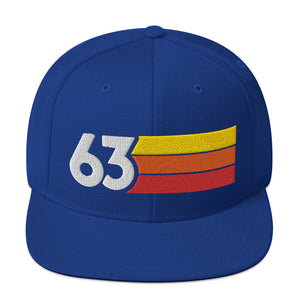 1963 RETRO NUMBER 63 BIRTHDAY REUNION ANNIVERSARY CUSTOM EMBROIDERED SNAPBACK HAT