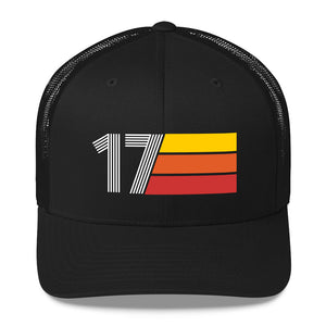 2017 RETRO BIRTHDAY GIFT NUMBER 17 MENS WOMENS TRUCKER HAT