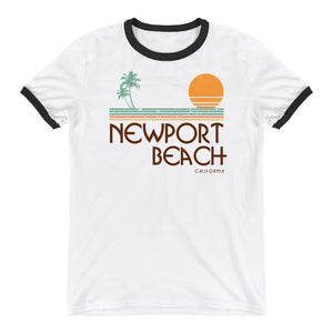 Newport Beach California Retro Ringer T-Shirt - Styleuniversal