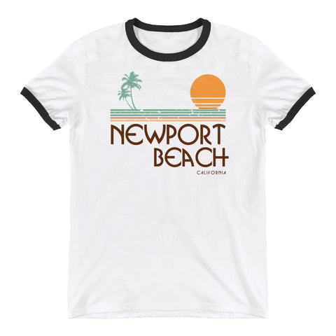Newport Beach California Retro Ringer T-Shirt