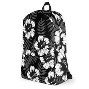 Hisbiscus Flower Black White Backpack - Styleuniversal