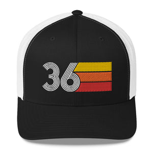 1936 RETRO BIRTHDAY GIFT NUMBER 36 MENS WOMENS TRUCKER HAT