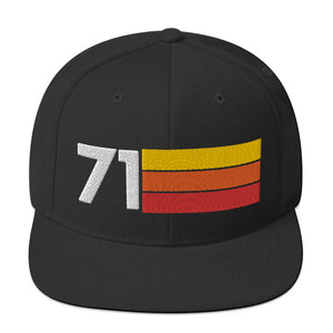 1971 RETRO NUMBER 71 BIRTHDAY REUNION ANNIVERSARY CUSTOM EMBROIDERED SNAPBACK HAT