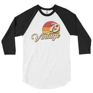 40th Birthday Vintage 1979 Retro 3/4 sleeve raglan shirt - Styleuniversal