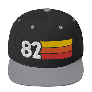 1982 RETRO NUMBER 82 BIRTHDAY REUNION ANNIVERSARY CUSTOM EMBROIDERED SNAPBACK HAT