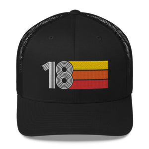 2018 RETRO BIRTHDAY GIFT NUMBER 18 MENS WOMENS TRUCKER HAT