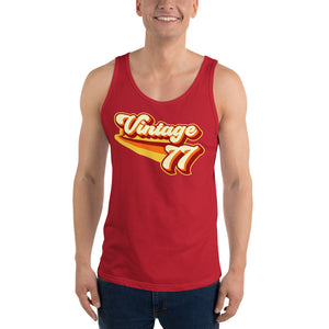 Vintage 1977 Warm Retro Lines Unisex Tank Top