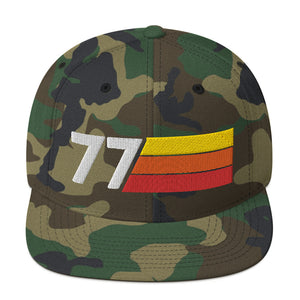 1977 RETRO NUMBER 77 BIRTHDAY REUNION ANNIVERSARY CUSTOM EMBROIDERED SNAPBACK HAT