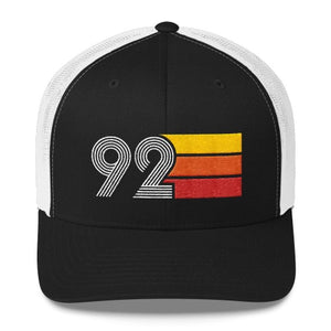 vintage 1992 number 92 retro trucker hat birthday cap decoration party gift black white