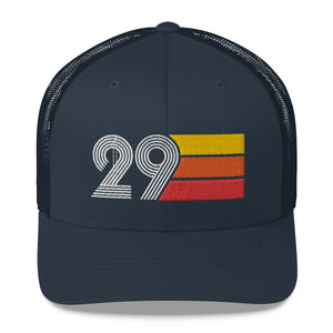 1929 RETRO BIRTHDAY GIFT Number 29 MENS WOMENS TRUCKER Hat