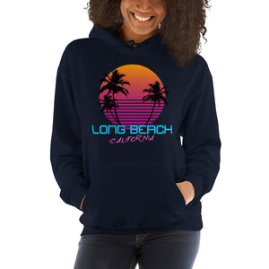 Long Beach California Retro 80's Hooded Sweatshirt - Styleuniversal