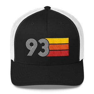 vintage 1993 number 93 retro trucker hat birthday cap decoration party gift black white