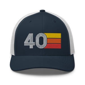 Number 40 Hat - 40th Birthday Gift Trucker Cap Navy/White
