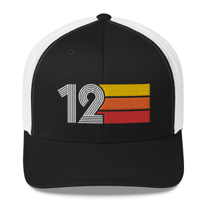 2012 RETRO BIRTHDAY GIFT NUMBER 12 MENS WOMENS TRUCKER HAT