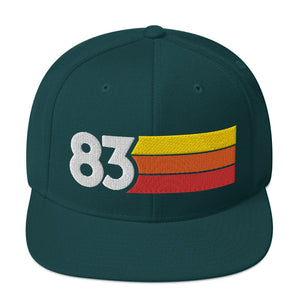 1983 RETRO NUMBER 83 BIRTHDAY REUNION ANNIVERSARY CUSTOM EMBROIDERED SNAPBACK HAT