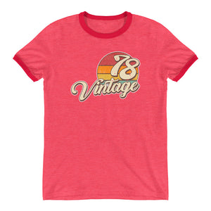 40th Birthday Vintage 1978 Ringer T-Shirt - Styleuniversal