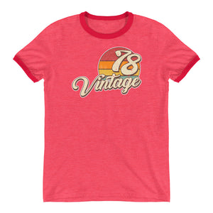 40th Birthday T-Shirt for Women Vintage 1978 Ringer T - Styleuniversal