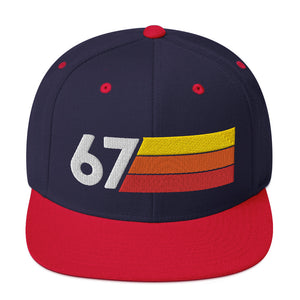 1967 RETRO NUMBER 67 BIRTHDAY REUNION ANNIVERSARY CUSTOM EMBROIDERED SNAPBACK HAT