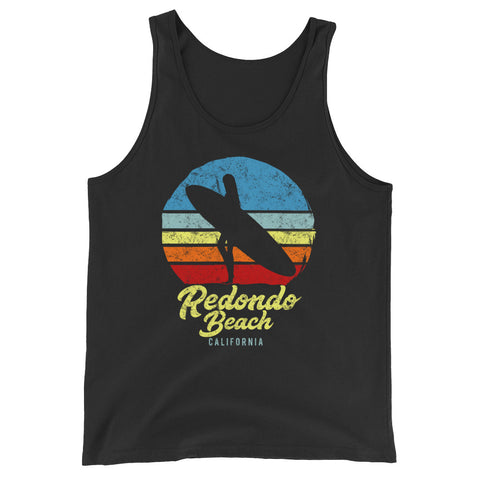 Redondo Beach California Retro Surf Unisex  Tank Top