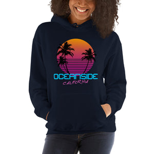 Oceanside California Retro 80's Hooded Sweatshirt - Styleuniversal