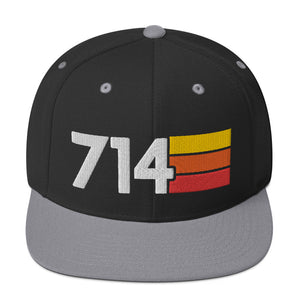 714 California Area Code Orange County 3D Puff Embroidery Snapback Hat