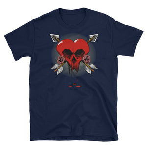 Gothic Skull Heart with Cupid Arrows Valentine's Day Short-Sleeve Unisex T-Shirt - Styleuniversal