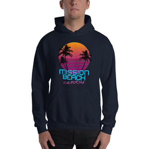 Mission Beach California Retro 80's Hooded Sweatshirt