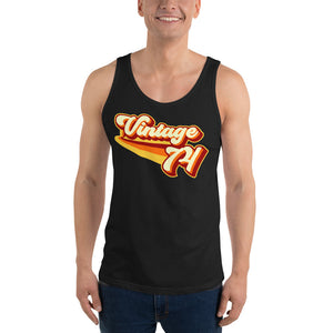 Vintage 1974 Warm Retro Lines Unisex  Tank Top