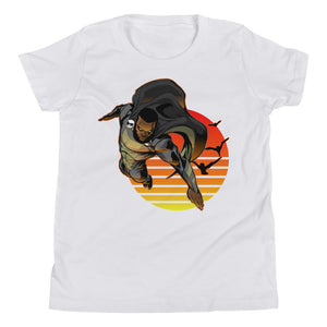 Midnight Sunset Flight Black Super Hero Youth Short Sleeve T-Shirt - Styleuniversal
