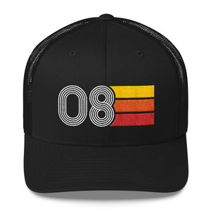 2008 Retro Birthday Gift Mens Womens Trucker Cap
