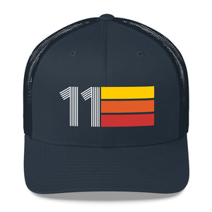 2011 RETRO BIRTHDAY GIFT NUMBER 11 MENS WOMENS TRUCKER HAT