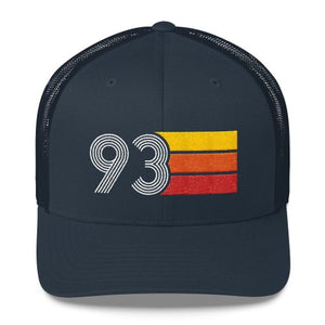 vintage 1993 number 93 retro trucker hat birthday cap decoration party gift navy