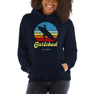 Carlsbad California Surfer Girl Retro Hoodie