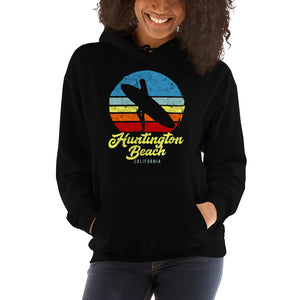 Huntington Beach California Retro Surfer Girl Hoodie - Styleuniversal